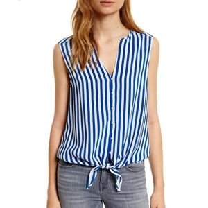 Joie Silk Tyson Striped Tie Front Top Size Small